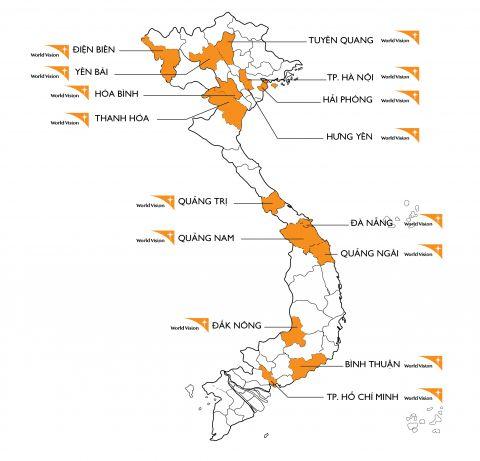 Sơ đồ các vùng dự án của Tổ chức Tầm nhìn Thế giới đang hoạt động tại Việt Nam